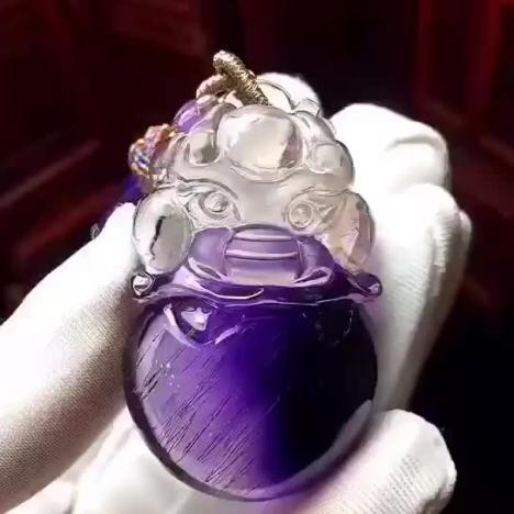 天然紫发晶貔貅吊坠,晶体干净、发丝顺,18.2克图片