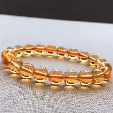 财富水晶,天然玻璃体巴西黄水晶手链,9MM