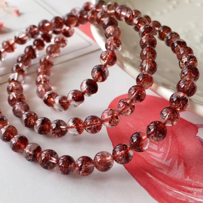 天然超七金草莓晶多圈手链,三轮骨干全红款