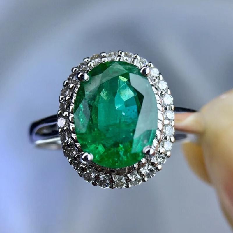 天然祖母绿宝石戒指,1.73ct,18K金钻石镶嵌,大气精致,性价比高