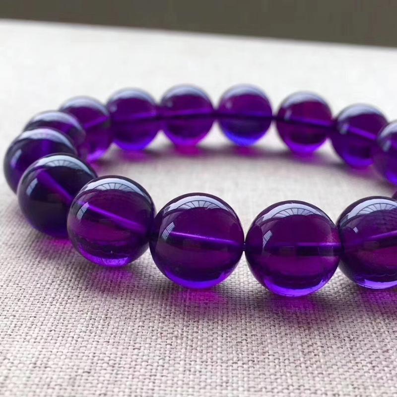 天然乌拉圭紫水晶手链,12MM,浓郁紫色,晶体干净