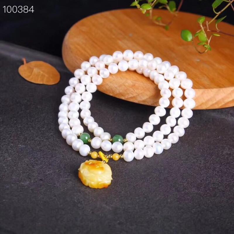 天然淡水珍珠6m手链,搭配蜜蜡,天然碧玉,美物