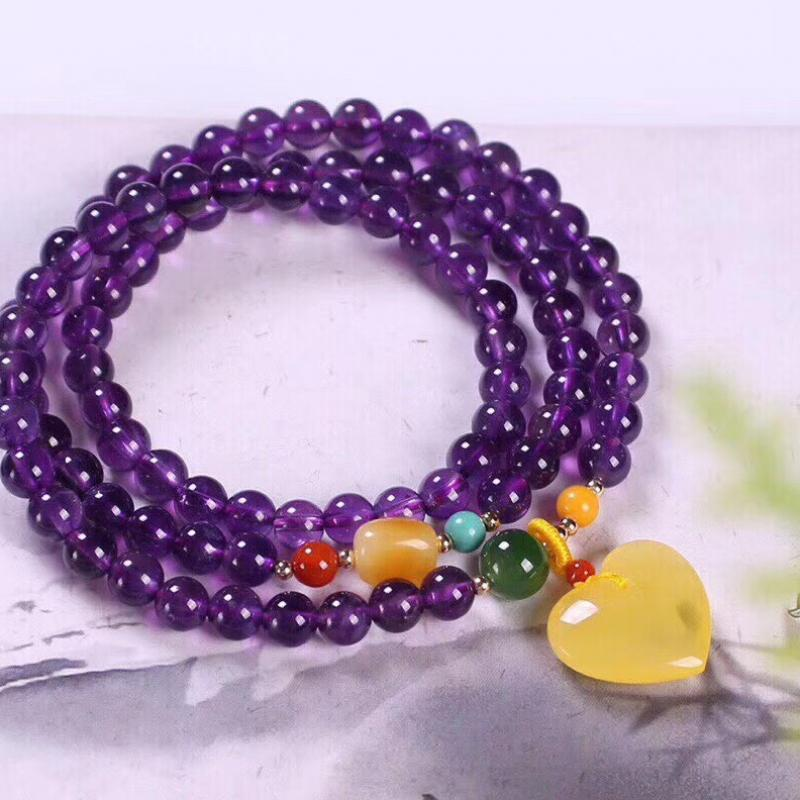 天然6.2mm紫水晶手链,搭配蜜蜡心形吊坠,色泽让人沉迷