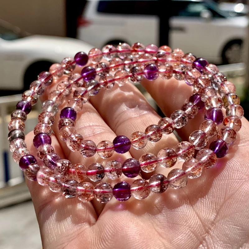 天然超七发晶手链,6mm,25.5克,三轮骨干水晶,颗颗精致