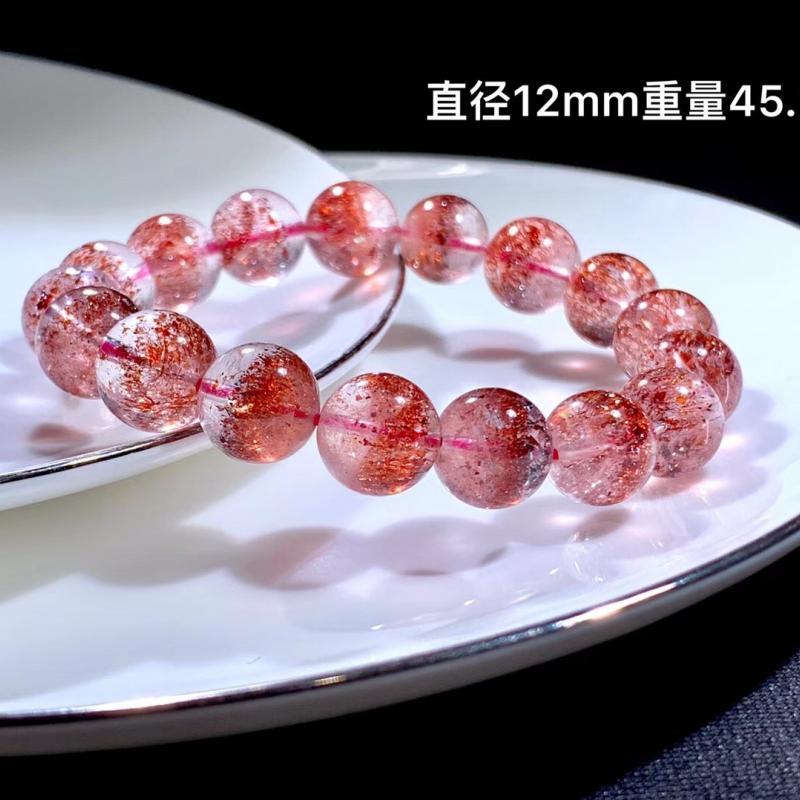 天然超七金草莓晶手链,三轮骨干全红款,12MM