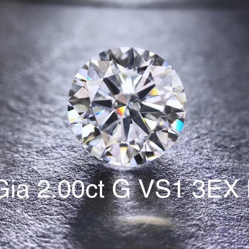 天然裸钻,2克拉 G色 VVS2净度,GIA证书