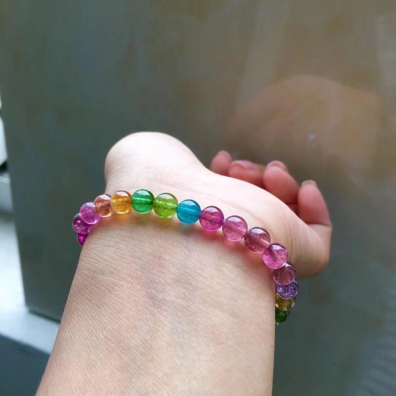 色彩仙美娇艳的彩虹碧玺手链,6.2mm,重11.1g