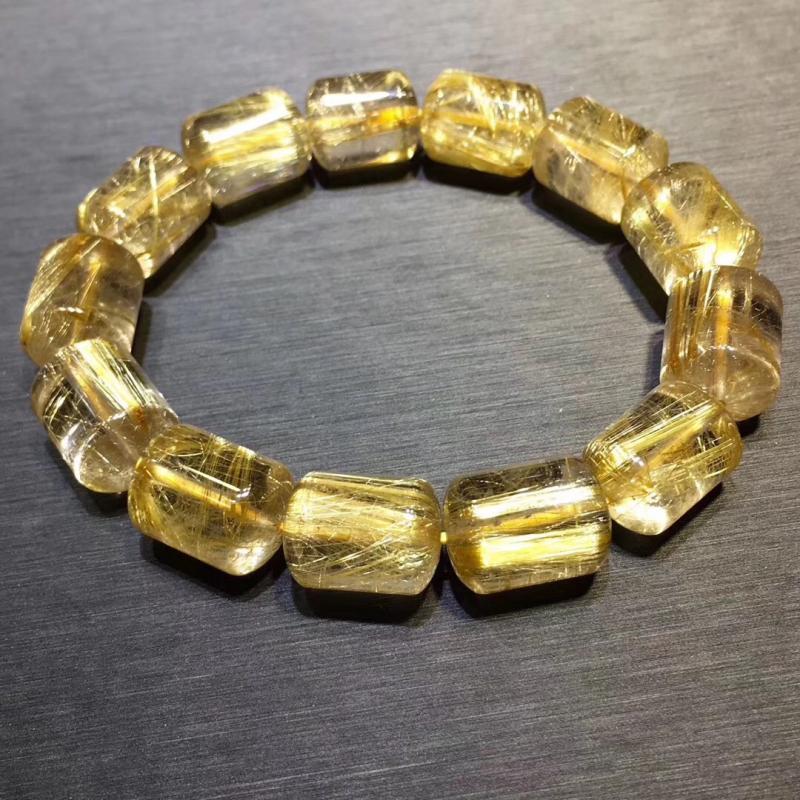 珍天然巴西金发晶/钛晶手链,11*15MM,路路通,招财旺事业