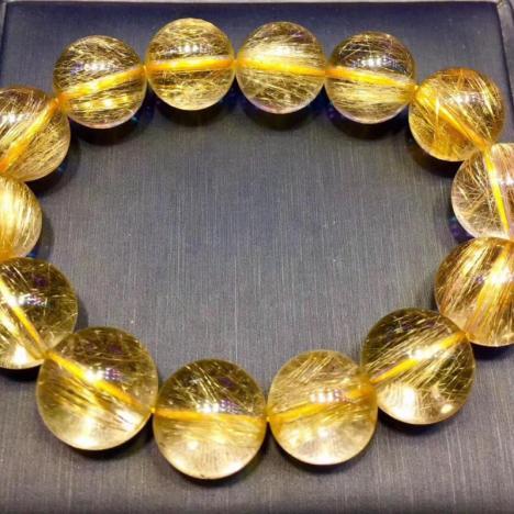 天然巴西金发晶手链,16MM,72克,大气招财