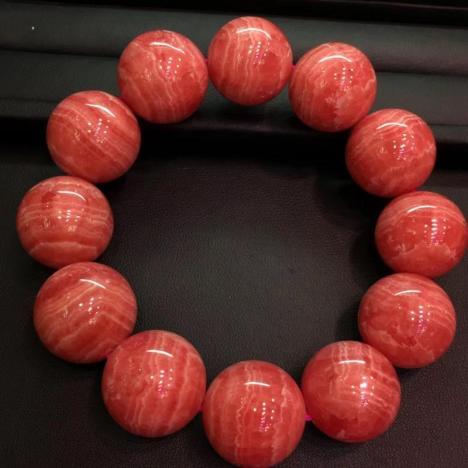 大颗粒精品天然冰种红纹石/菱锰矿手链,21mm图片