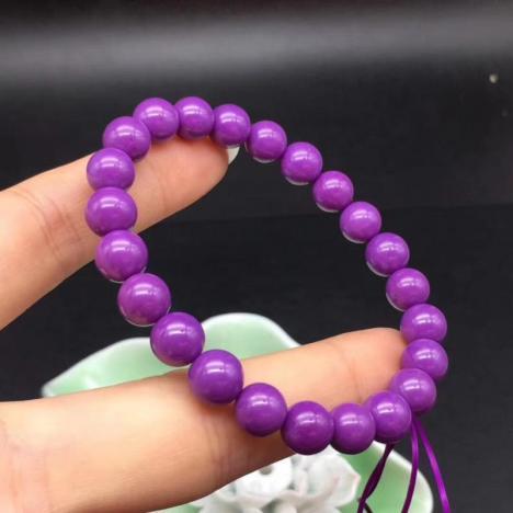 天然紫云母斜红磷铁矿手琏,10MM,颜色漂亮,优雅大方图片