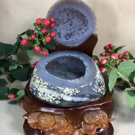 天然玛瑙聚宝盆摆件,产地巴西,招财聚财,改善风水