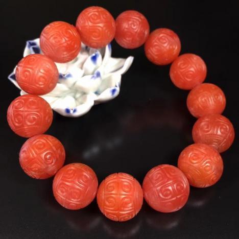 天然精工回纹珠南红玛瑙手串,15mm,哑光之美图片
