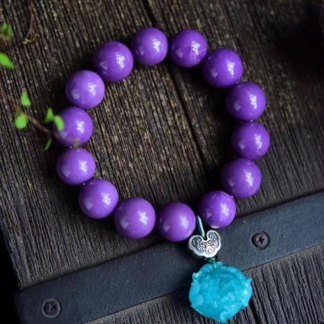 珍品紫云母,天然斜红磷铁矿手串,15MM图片