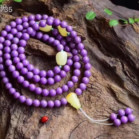 天然紫云母108颗佛珠手串,6.5mm,搭配天然蜜蜡,一体三通图片