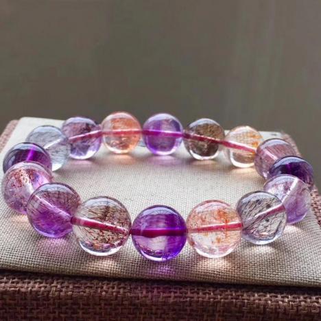 精美天然超七发晶手链,13MM,重54g,三轮骨干水晶,颗颗精致图片