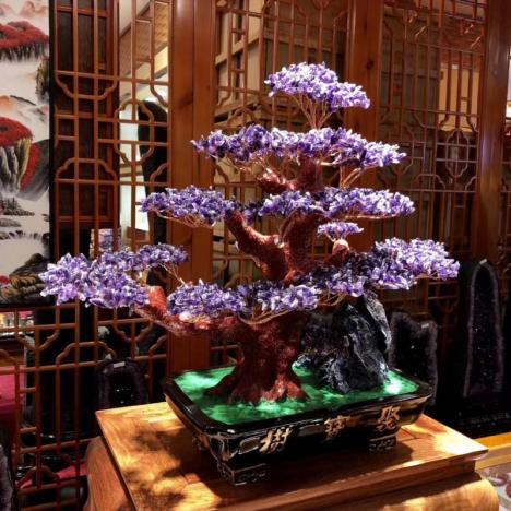 招财树,天然紫水晶招财水晶树摆件,开店或家中摆放图片