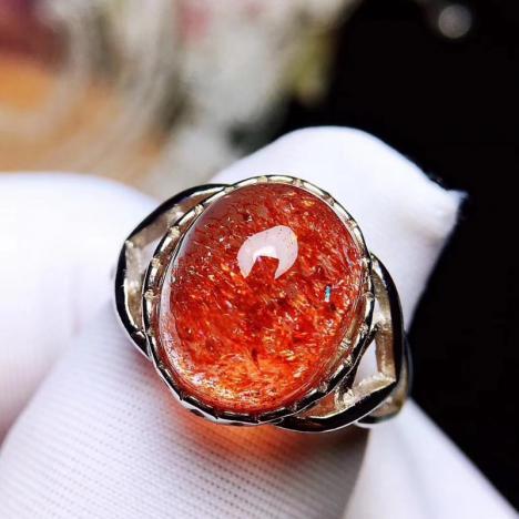 天然超七金草莓戒指,稀有聚宝盆,旺姻缘图片
