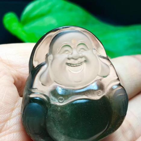 天然绿幽灵笑口常开弥勒佛吊坠,意境美,工艺精湛图片