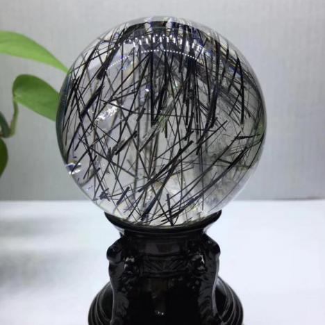 精品天然黑发晶/钛晶水晶球摆件,改善风水,直径75.6MM