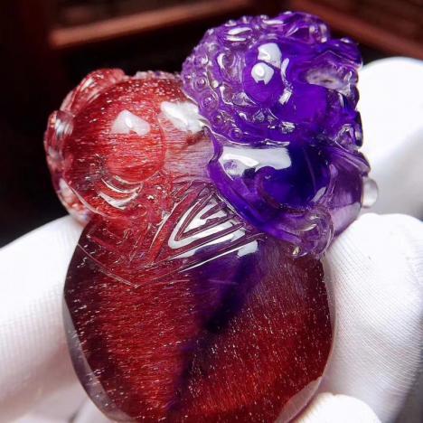 天然紫红晶顺发超七发晶貔貅挂坠,35g,收藏品图片