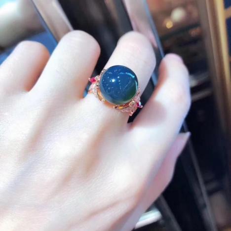 天然墨西哥蓝珀戒指,925银镶嵌,精工镶嵌,超级大气图片