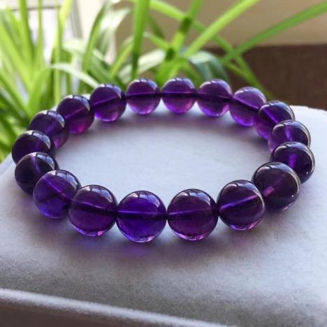 精品天然乌拉圭紫水晶手链,11MM,紫色浓郁,爱情守护石图片