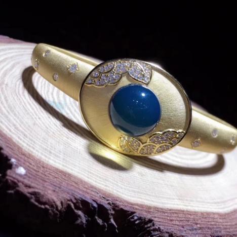 天然蓝珀手镯,S925精工镶嵌,珠子:12mm,超级优美