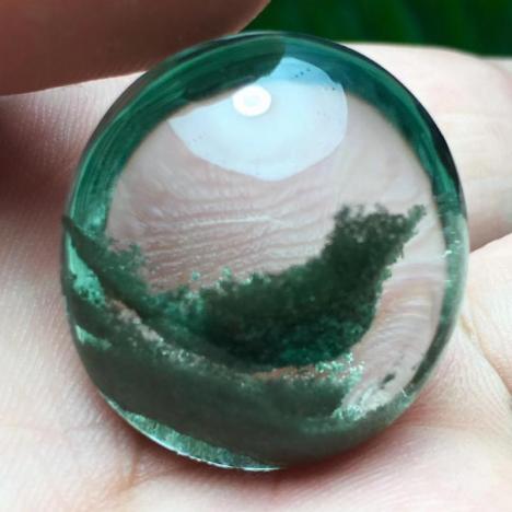 巴西老矿天然绿幽灵意象原石水滴形吊坠,喜鹊临门,晶体干净,无红皮图片