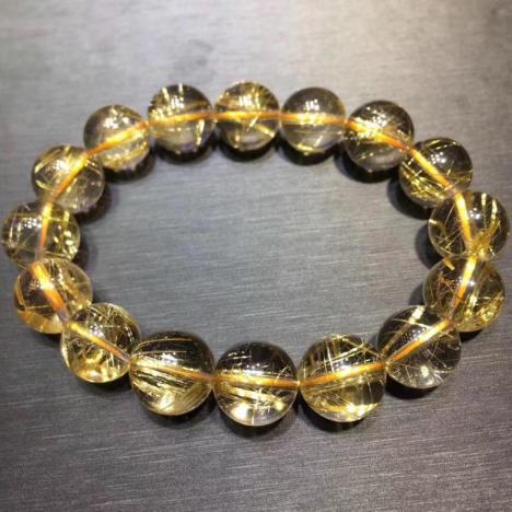 天然巴西金发晶圆珠手链,13MM,招财辟邪能量强