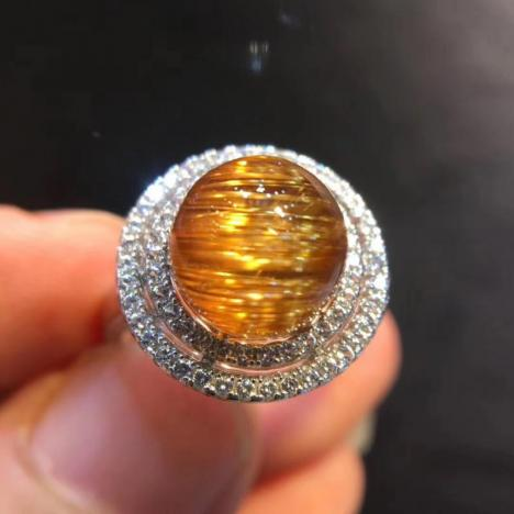 天然巴西铜发晶戒指,顺发猫眼,925银镶嵌,活口可调,