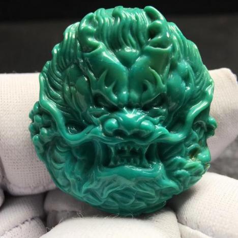 天然原矿绿松石雕龙吊坠,8.5克,精雕,高瓷图片