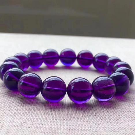 天然乌拉圭紫水晶手链,12MM,浓郁紫色,晶体干净图片