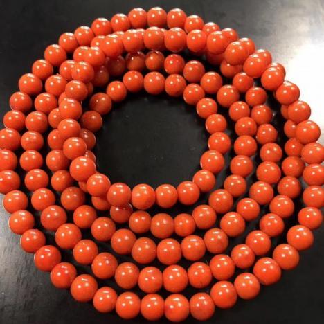 天然南红玛瑙佛珠,满肉满色4.8mm,重21.7克