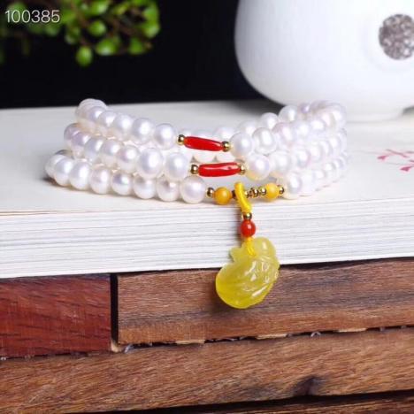 天然淡水珍珠6m手链,搭配蜜蜡,浪漫清新,腕间风情图片