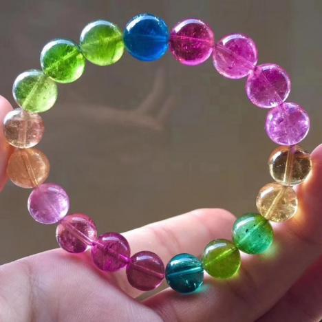精品天然荧光色彩虹碧玺手链,10.5mm,晶体超级透,颜色仙,34.51g图片