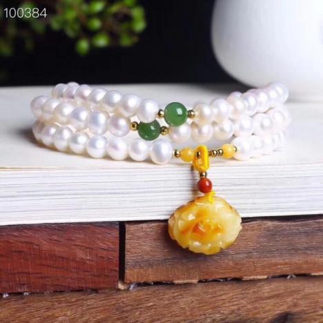天然淡水珍珠6m手链,搭配蜜蜡,天然碧玉,美物图片