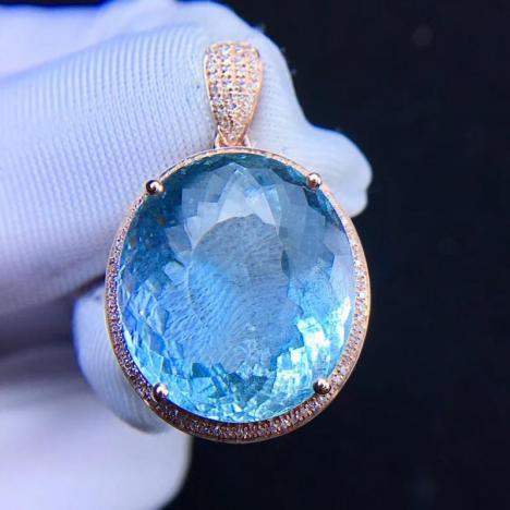 天然18K镶嵌海蓝宝吊坠,裸石16ct,伴南非钻,火彩超赞图片