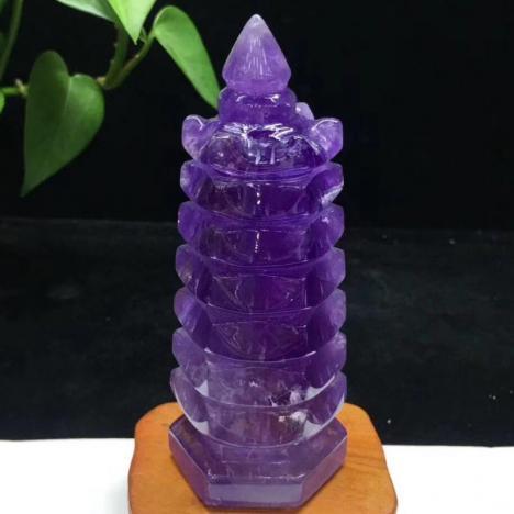 天然乌拉圭紫水晶文昌塔摆件,助学业图片