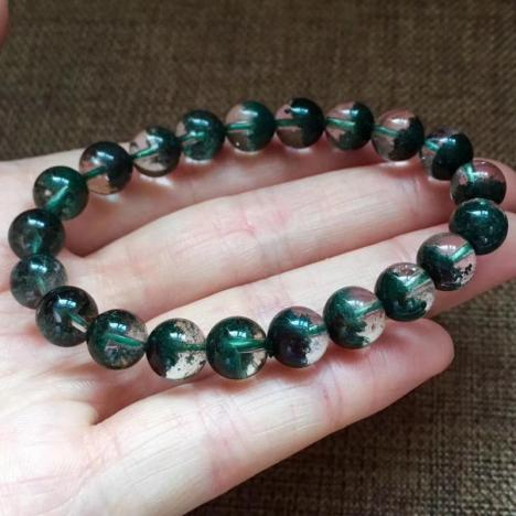 天然绿幽灵聚宝盆单圈手链,珠子8.5mm,招财进宝,旺运气图片