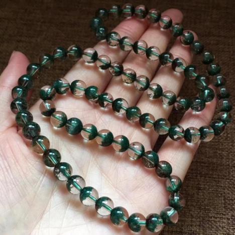 天然绿幽灵聚宝盆多圈手链,珠子7.5mm,招财进宝,旺事业图片