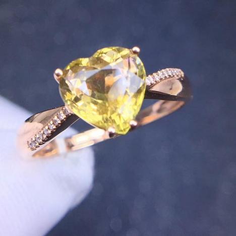 天然18K金镶嵌黄碧玺戒指,裸石2.5ct,南非钻,精致独特图片