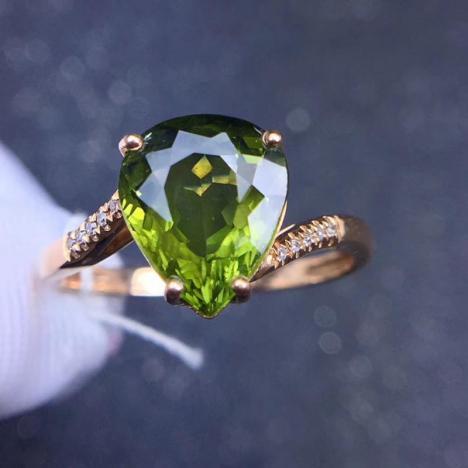 天然18K金镶嵌绿碧玺戒指,裸石3ct,伴南非钻,火彩超赞图片