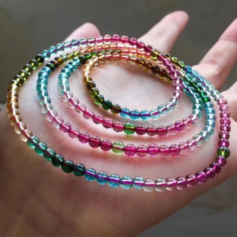 精品玻璃体彩虹碧玺多圈佛珠手链,4mm,19.9克图片