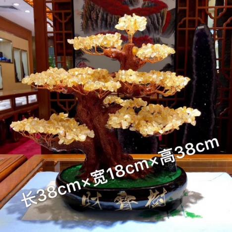 天然黄水晶招财树摆件,办公桌、家中摆件水晶树图片