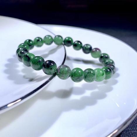 天然红绿宝单圈手链,8MM,上手漂亮图片