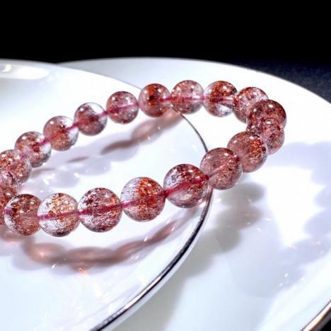 天然超七金草莓晶手链,三轮骨干全红款,9.5MM