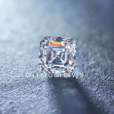 天然钻石戒面,1.01克拉 G色 SI1净度,方形,GIA证书