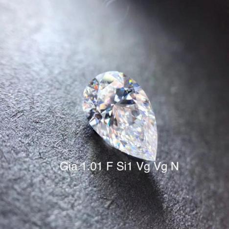 天然钻石裸钻,1.01克拉 F色 SI1净度,水滴形,GIA证书图片