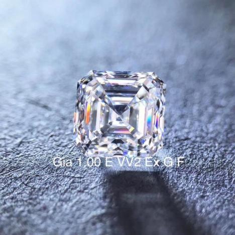 天然钻石戒面,1克拉 E色 VVS2净度,方形,GIA证书